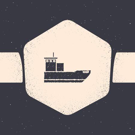 Grunge Cargo ship icon isolated on grey background. Monochrome vintage drawing. Vector Illustration Ilustração
