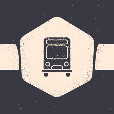 Grunge Bus icon isolated on grey background. Transportation concept. Bus tour transport sign. Tourism or public vehicle symbol. Monochrome vintage drawing. Vector Illustration Banque d'images - 129689759