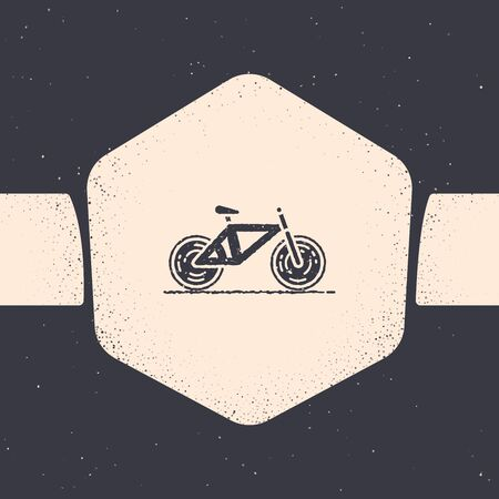 Grunge Bicycle icon isolated on grey background. Bike race. Extreme sport. Sport equipment. Monochrome vintage drawing. Vector Illustration