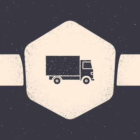 Grunge Delivery cargo truck vehicle icon isolated on grey background. Monochrome vintage drawing. Vector Illustration Stock Vector - 129690448