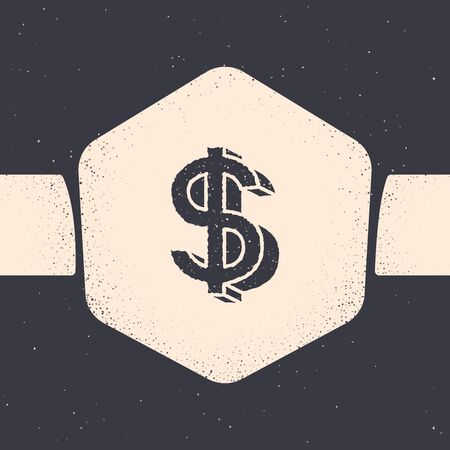 Grunge Dollar symbol icon isolated on grey background. Cash and money, wealth, payment symbol. Casino gambling. Monochrome vintage drawing. Vector Illustration Stock Illustratie