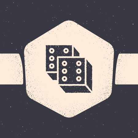 Grunge Game dice icon isolated on grey background. Casino gambling. Monochrome vintage drawing. Vector Illustration Archivio Fotografico - 129690524