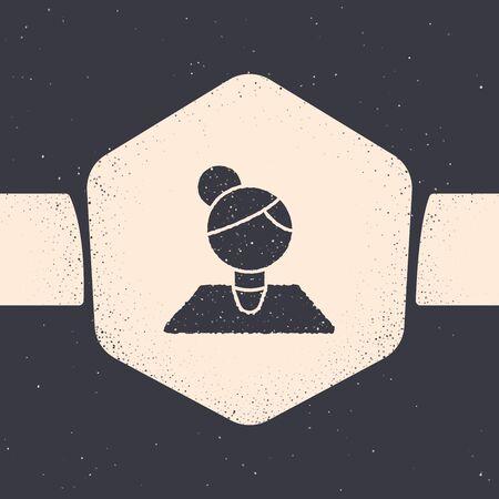 Grunge Teacher icon isolated on grey background. Monochrome vintage drawing. Vector Illustration Illusztráció