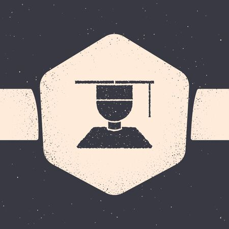 Grunge Graduate and graduation cap icon isolated on grey background. Monochrome vintage drawing. Vector Illustration 写真素材 - 129690774