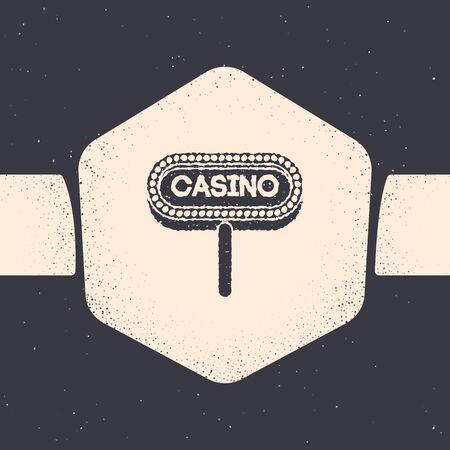 Grunge Casino signboard icon isolated on grey background. Monochrome vintage drawing. Vector Illustration Vectores