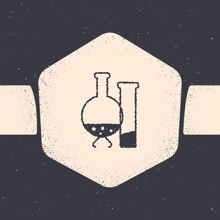 Grunge Test tube and flask - chemical laboratory test icon isolated on grey background. Laboratory glassware sign. Monochrome vintage drawing. Vector Illustration Stock Illustratie
