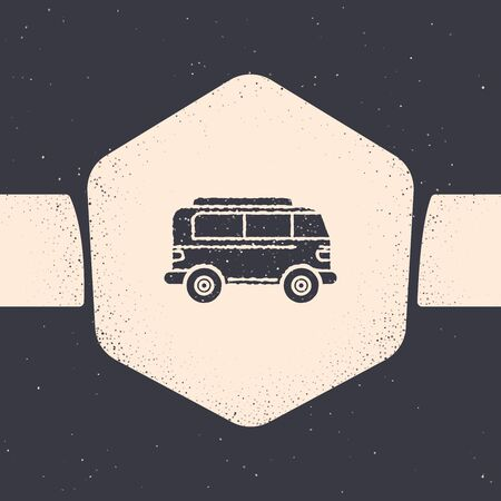 Grunge Retro minivan icon isolated on grey background. Old retro classic traveling van. Monochrome vintage drawing. Vector Illustration Banque d'images - 129690896
