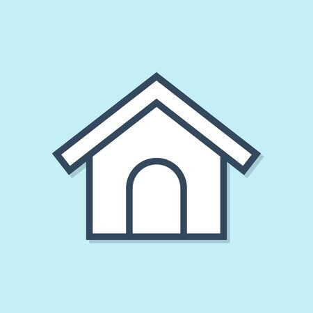 Blue line Dog house icon isolated on blue background. Dog kennel. Vector Illustration Stockfoto - 129690961