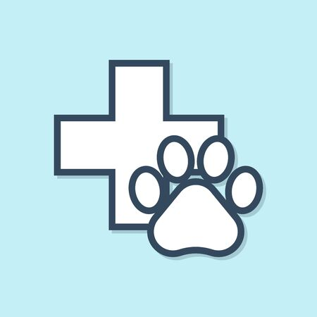 Blue line Veterinary clinic symbol icon isolated on blue background. Cross hospital sign. A stylized paw print dog or cat. Pet First Aid sign. Vector Illustration Illustration