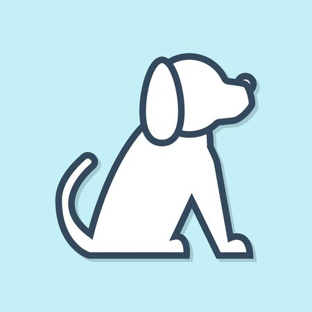 Blue line Dog icon isolated on blue background. Vector Illustration Фото со стока - 129691344