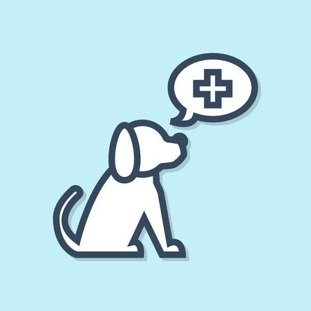 Blue line Veterinary clinic symbol icon isolated on blue background. Cross with dog veterinary care. Pet First Aid sign. Vector Illustration