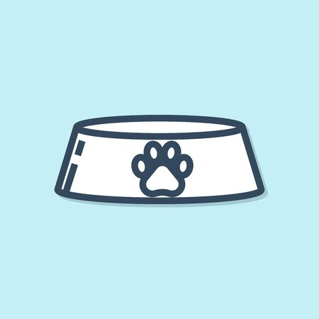 Blue line Pet food bowl for cat or dog icon isolated on blue background. Dog or cat paw print. Vector Illustration Illustration