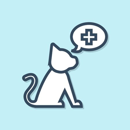 Blue line Veterinary clinic symbol icon isolated on blue background. Cross with cat veterinary care. Pet First Aid sign. Vector Illustration