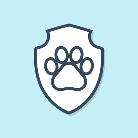 Blue line Animal health insurance icon isolated on blue background. Pet protection icon. Dog or cat paw print. Vector Illustration Banque d'images - 129691438
