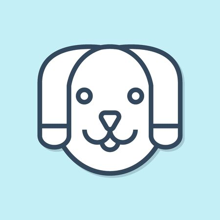 Blue line Dog icon isolated on blue background. Vector Illustration Фото со стока - 129691445