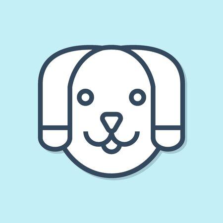 Blue line Dog icon isolated on blue background. Vector Illustration