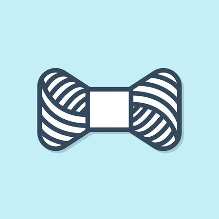 Blue line Sewing thread on spool icon isolated on blue background. Yarn spool. Thread bobbin. Vector Illustration