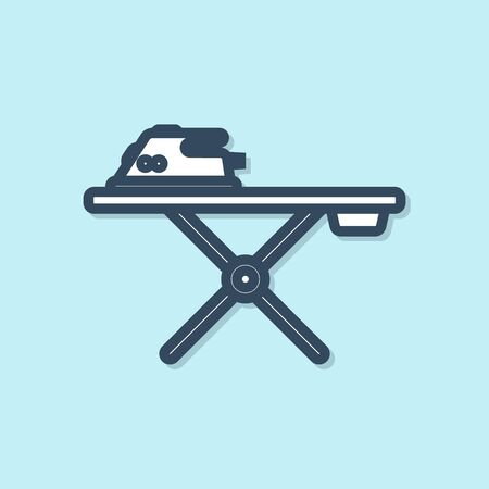 Blue line Electric iron and ironing board icon isolated on blue background. Steam iron. Vector Illustration 矢量图像