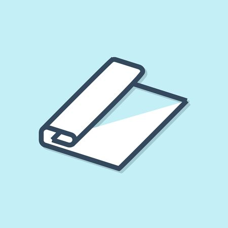 Blue line Textile fabric roll icon isolated on blue background. Roll, mat, rug, cloth, carpet or paper roll icon. Vector Illustration Archivio Fotografico - 129691534