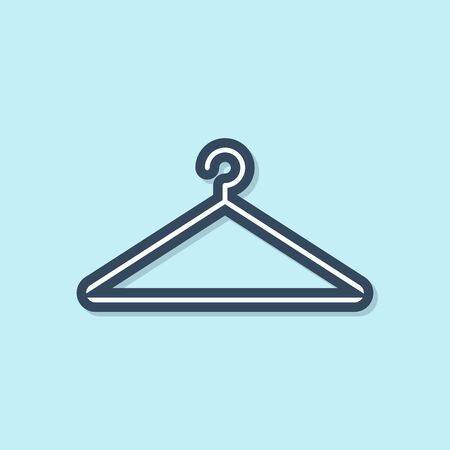 Blue line Hanger wardrobe icon isolated on blue background. Cloakroom icon. Clothes service symbol. Laundry hanger sign. Vector Illustration Stock Illustratie