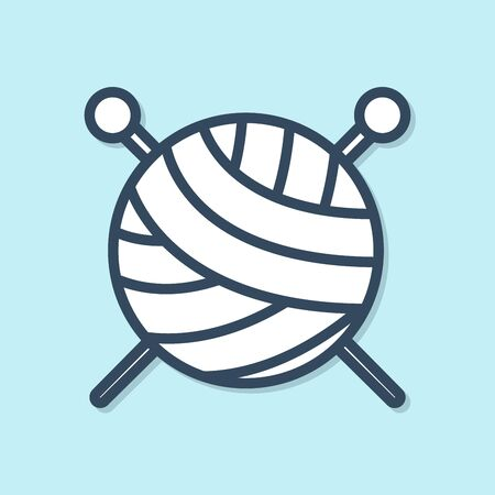 Blue line Yarn ball with knitting needles icon isolated on blue background. Label for hand made, knitting or tailor shop. Vector Illustration