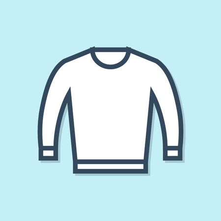 Blue line Sweater icon isolated on blue background. Pullover icon. Vector Illustration