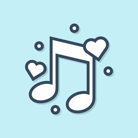 Blue line Music note, tone with hearts icon isolated on blue background. Vector Illustration