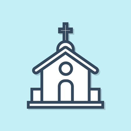 Blue line Church building icon isolated on blue background. Christian Church. Religion of church. Vector Illustration