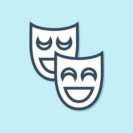 Blue line Comedy theatrical masks icon isolated on blue background. Vector Illustration  イラスト・ベクター素材