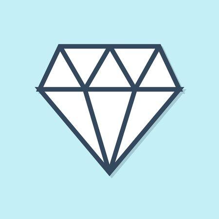 Blue line Diamond icon isolated on blue background. Jewelry symbol. Gem stone. Vector Illustration