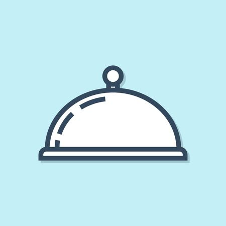 Blue line Covered with a tray of food icon isolated on blue background. Tray and lid sign. Restaurant cloche with lid. kitchenware symbol. Vector Illustration Foto de archivo - 129691779