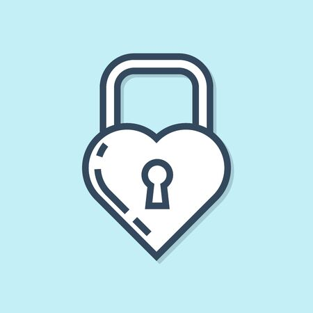 Blue line lock in the shape of a heart icon isolated on blue background. Locked Heart. Love symbol and keyhole sign. Vector Illustration