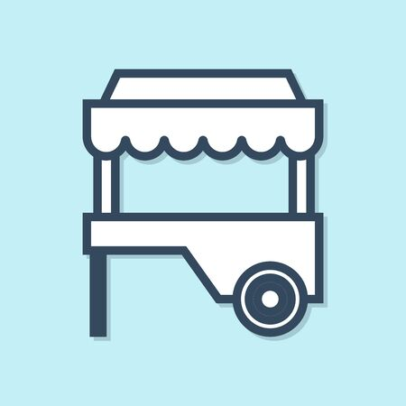 Blue line Fast street food cart with awning icon isolated on blue background. Urban kiosk. Vector Illustration
