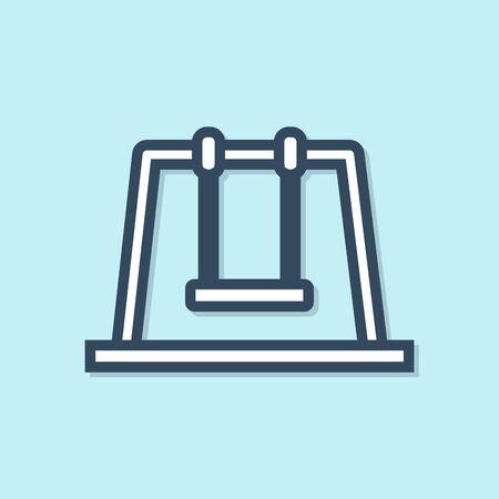Blue line Swing icon isolated on blue background. Playground symbol. Vector Illustration
