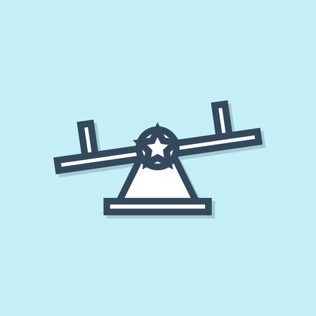 Blue line Seesaw icon isolated on blue background. Teeter equal board. Playground symbol. Vector Illustration
