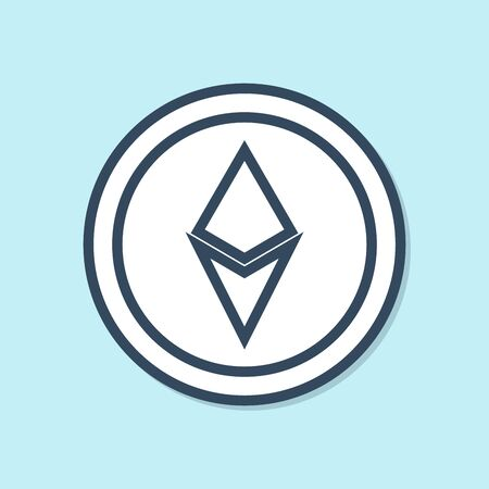 Blue line Cryptocurrency coin Ethereum ETH icon isolated on blue background. Altcoin symbol. Blockchain based secure crypto currency. Vector Illustration