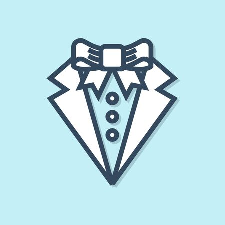 Blue line Suit icon isolated on blue background. Tuxedo. Wedding suits with necktie. Vector Illustration Illusztráció