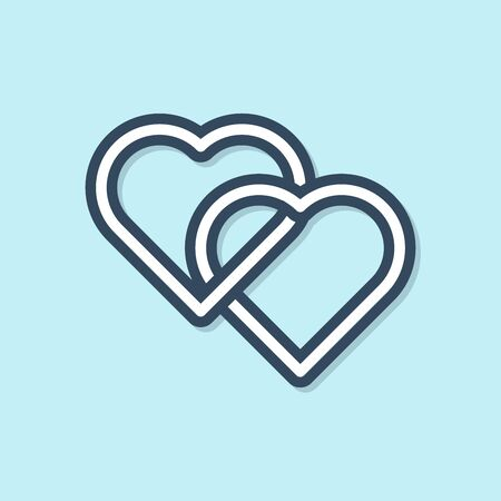 Blue line Two Linked Hearts icon isolated on blue background. Romantic symbol linked, join, passion and wedding. Valentine day symbol. Vector Illustration