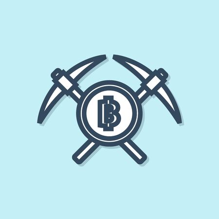 Blue line Crossed pickaxe icon isolated on blue background. Blockchain technology, cryptocurrency mining, bitcoin, altcoins, digital money market. Vector Illustration Foto de archivo - 129692280
