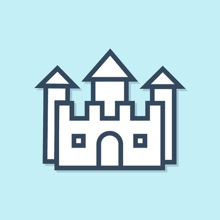 Blue line Castle icon isolated on blue background. Vector Illustration
