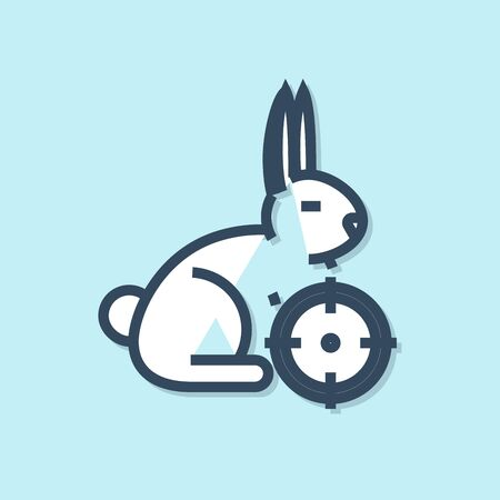 Blue line Hunt on rabbit with crosshairs icon isolated on blue background. Hunting club with rabbit and target. Rifle lens aiming a hare. Vector Illustration