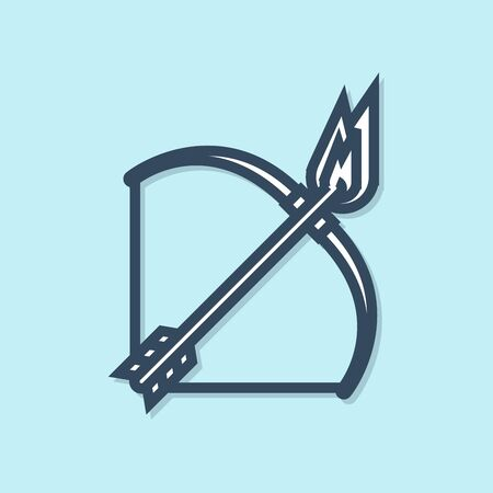 Blue line Bow and fire arrow icon isolated on blue background. Vector Illustration