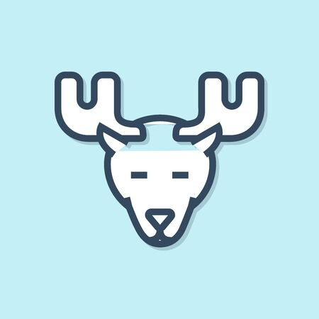 Blue line Moose head with horns icon isolated on blue background. Vector Illustration Иллюстрация