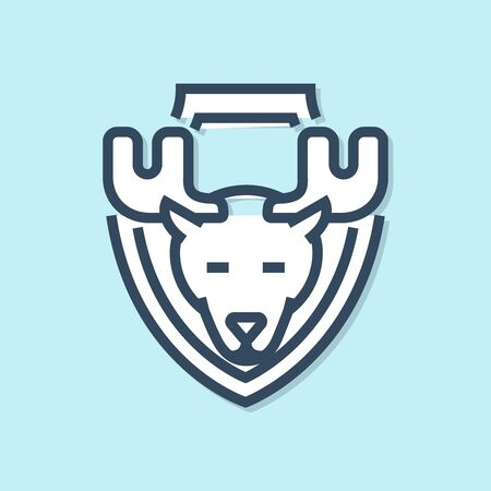 Blue line Moose head on shield icon isolated on blue background. Hunting trophy on wall. Vector Illustration
