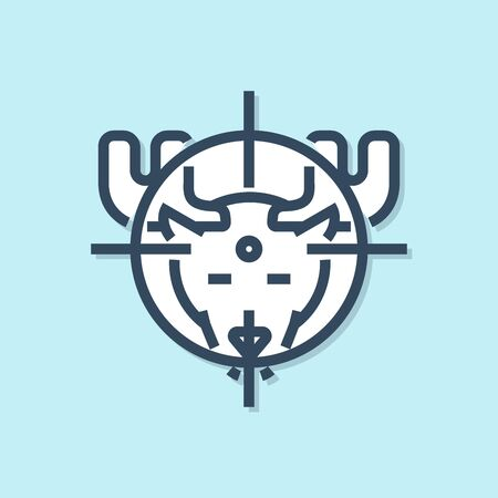 Blue line Hunt on moose with crosshairs icon isolated on blue background. Hunting club with moose and target. Rifle lens aiming a moose. Vector Illustration