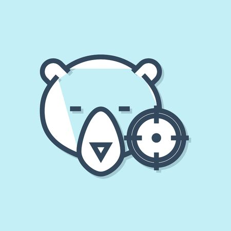 Blue line Hunt on bear with crosshairs icon isolated on blue background. Hunting club with bear and target. Rifle lens aiming a bear. Vector Illustration