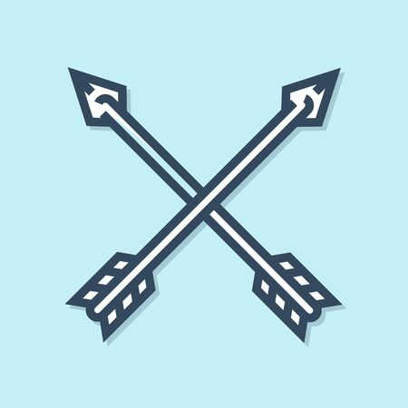 Blue line Crossed arrows icon isolated on blue background. Vector Illustration