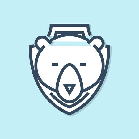 Blue line Bear head on shield icon isolated on blue background. Hunting trophy on wall. Vector Illustration Ilustração