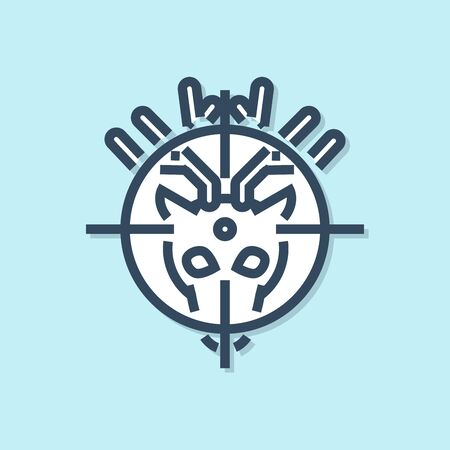 Blue line Hunt on deer with crosshairs icon isolated on blue background. Hunting club with deer and target. Rifle lens aiming a deer. Vector Illustration