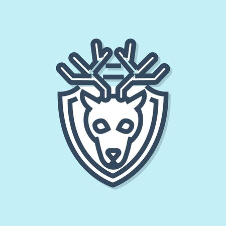 Blue line Deer head with antlers on shield icon isolated on blue background. Hunting trophy on wall. Vector Illustration Иллюстрация